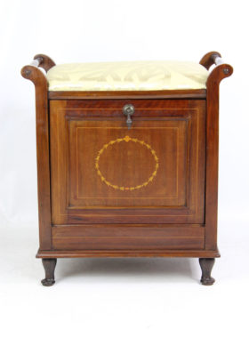 Edwardian Inlaid Mahogany Piano Stool