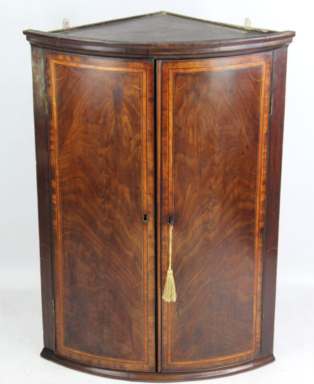 Georgian Inlaid Mahogany Bow Front Corner Cupboard
