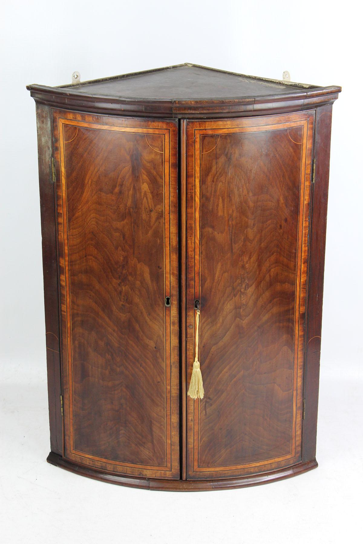 Antique Georgian Mahogany Bow Front Corner Cupboard