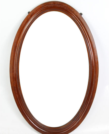 Large Edwardian Inlaid Mahogany Oval Mirror