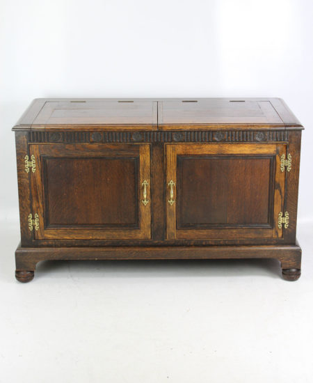 1920s Oak Coffer TV Cabinet