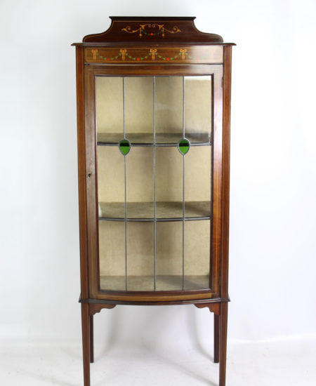 Slim Edwardian Arts Crafts Display Cabinet