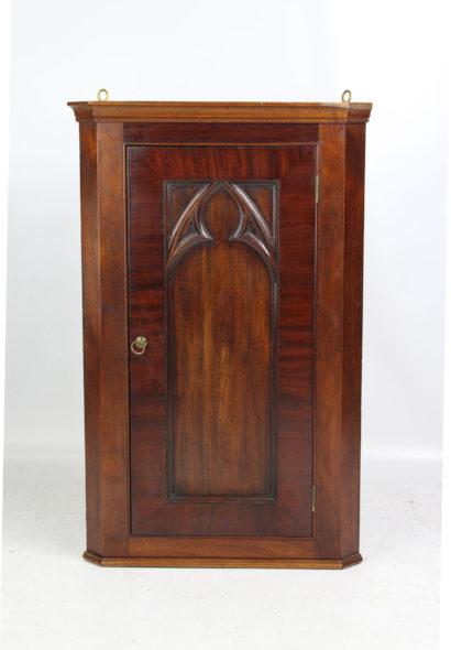 Small Victorian Gothic Revival Mahogany Corner Cupboard