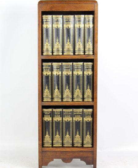 Charles Dickens Books in Oak Bookcase Circa 1910