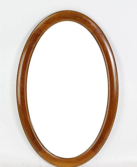 Edwardian Inlaid Mahogany Oval Mirror