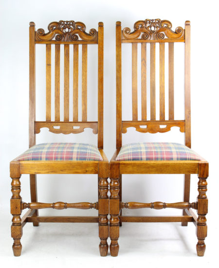 Pair Edwardian Oak High Back Chairs