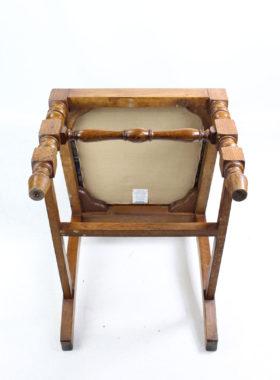 Pair Edwardian Oak High Back Chairs