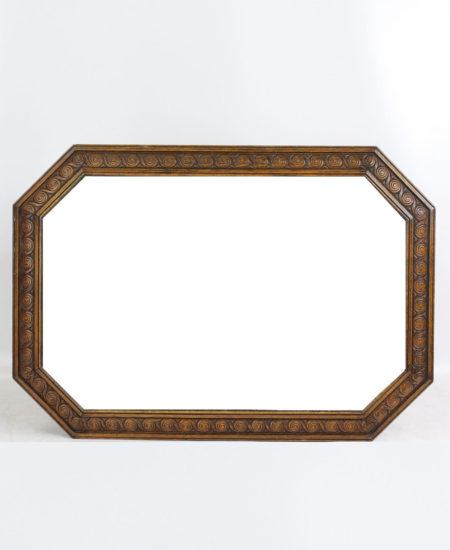 Vintage Oak Framed Octagonal Mirror