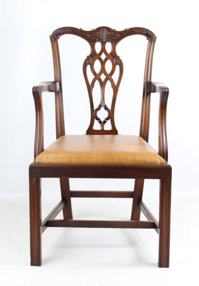 Edwardian Mahogany Chippendale Desk Chair