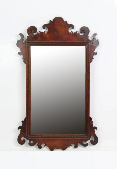 Small Georgian Mahogany Fretwork Mirror