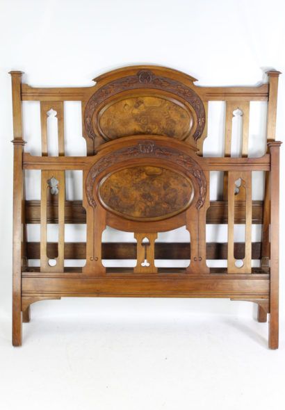 Antique Victorian Walnut Arts & Crafts Double Bed