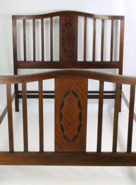 Antique Edwardian Mahogany & Inlaid Double Bed