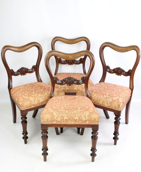 Set 4 Victorian Mahogany Balloon Back Chairs