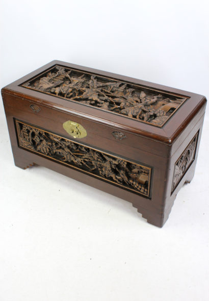 Vintage Carved Chinese Camphor Wood Trunk