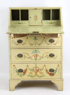 Small Edwardian Neo-Classical Painted Bureau