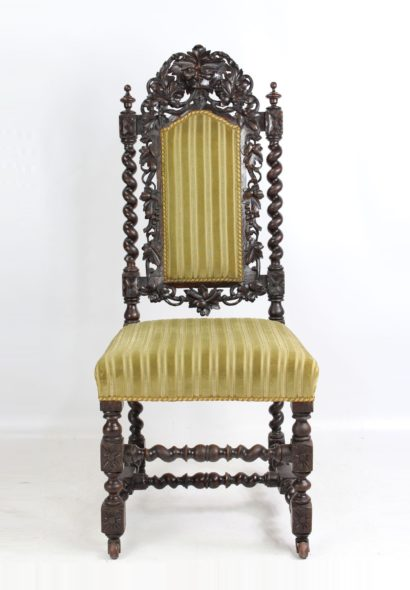 Antique Victorian Oak Gothic Revival Chair