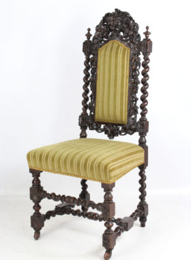 Victorian Gothic Revival Green Man Carved Chair