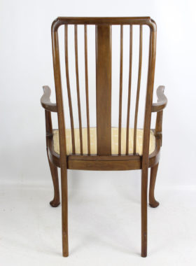 Antique Edwardian Mahogany Inlaid Open Armchair