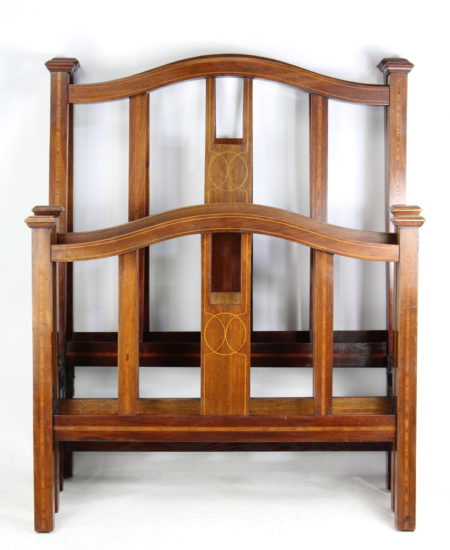 Pair Antique Single Mahogany Inlaid Beds