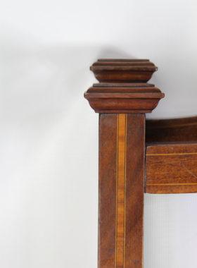 Pair Antique Single Mahogany Inlaid Beds