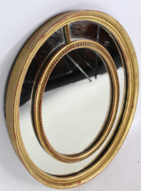 Antique Gilt Sectional Oval Wall Mirror