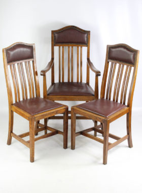 Arts and Crafts Oak Edwardian Chairs
