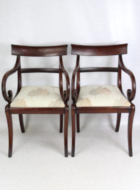 Pair Victorian Mahogany Open Armchairs