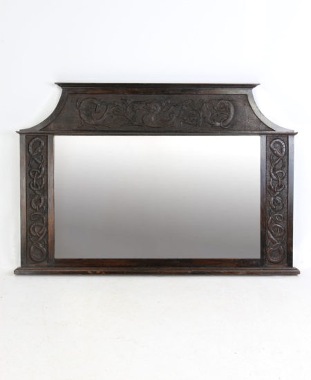 Antique Edwardian Arts & Crafts Oak Overmantle Mirror
