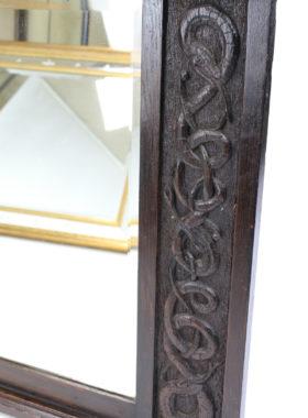 Antique Edwardian Arts & Crafts Oak Overmantle Mirror