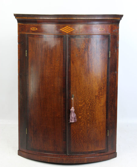Antique Georgian Oak & Inlaid Bow Front Corner Cupboard