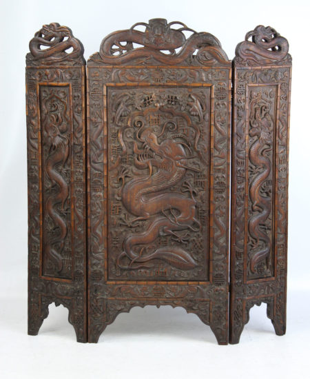 Large Edwardian Dragon Carved Fire Screen