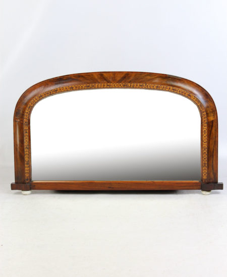 Victorian Walnut Marquetry Overmantle Mirror