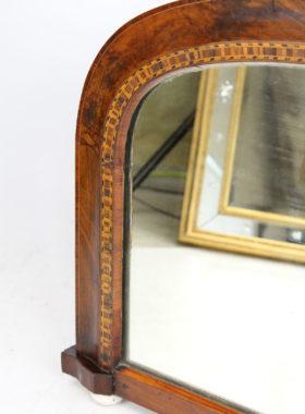 Victorian Walnut Marquetry Overmantle Mirror