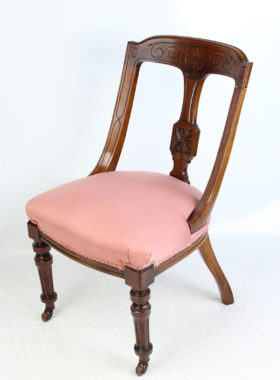 Pair Victorian Mahogany Sling Back Chairs