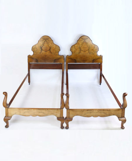 Pair Antique Walnut Queen Anne Single Beds C1920