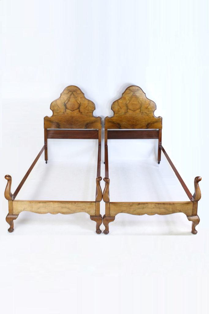 Pair Antique Walnut Queen Anne Single Beds C1920