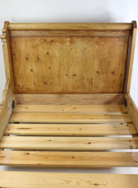 Antique French Pine Sleigh Bed Lit Bateau