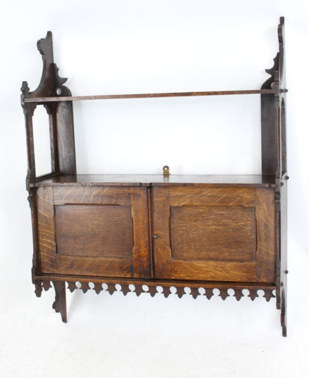 Victorian Gothic Revival Oak Hanging Cabinet