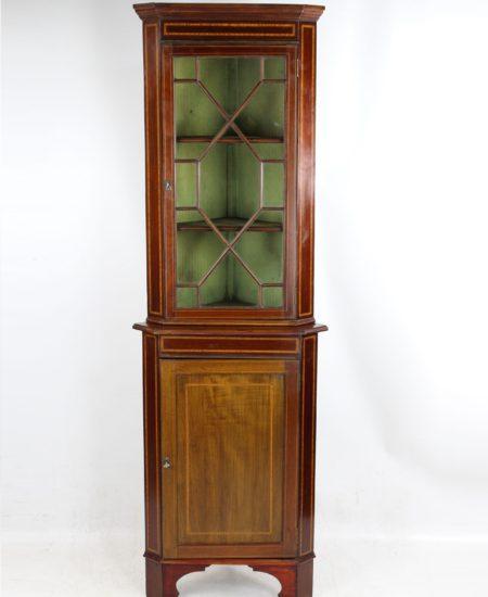Tall Edwardian Mahogany Corner Cupboard