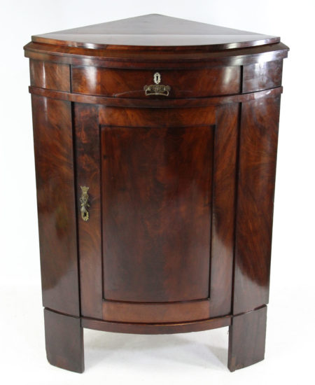 Antique Mahogany Biedermeier Standing Corner Cupboard