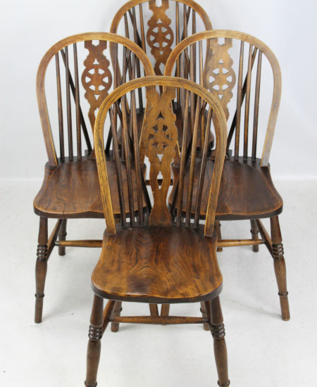 Set 4 Antique Elm Kitchen Chairs