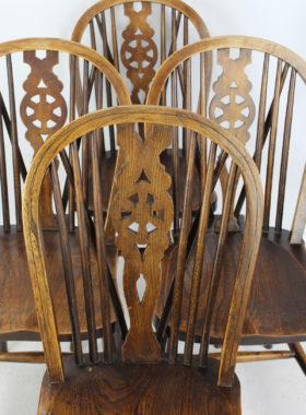 Set 4 Antique Elm Kitchen Chairs