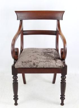 Victorian Mahogany Scroll Arm Desk Chair