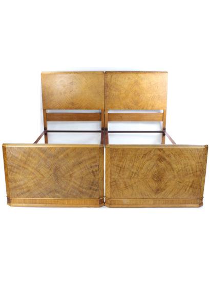 Pair Art Deco Walnut Single Beds