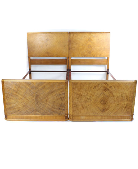 Pair Art Deco Walnut Single Beds
