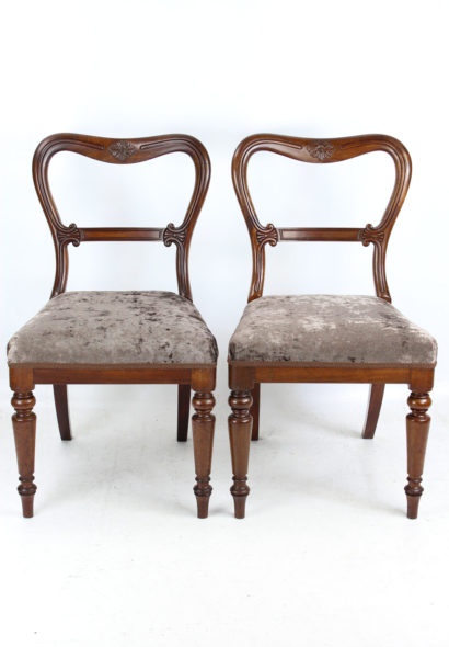 Pair Antique Gillows Balloon Back Chairs