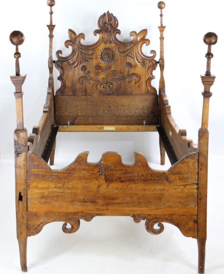 Antique Carved Pine Single Bed