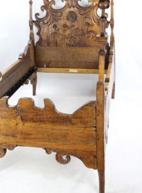 Antique Carved Pine Single Bed