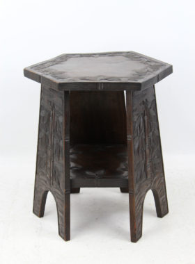Small Carved Arts Crafts Coffee Table