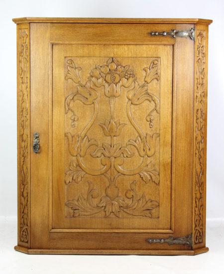 Large Arts Crafts Oak Corner Cupboard